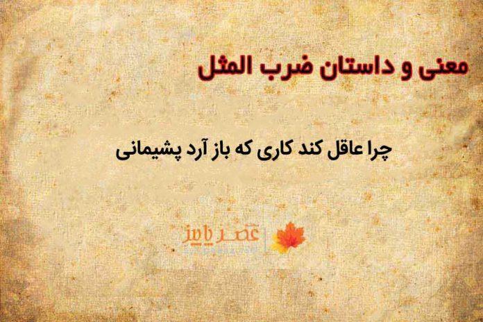 ضرب المثل چرا عاقل کند کاری که باز آرد پشیمانی